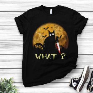 Halloween Black Cat Murderous With Knife shirt