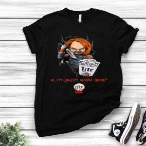 Hi I'm Chucky Wanna Drink Miller Lite Halloween shirt