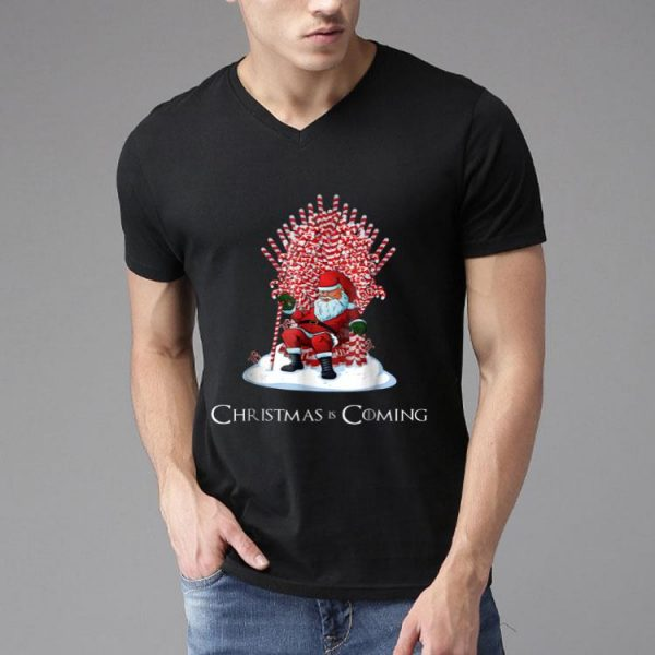 Santa Candy Cane Throne Christmas Is Coming shirt