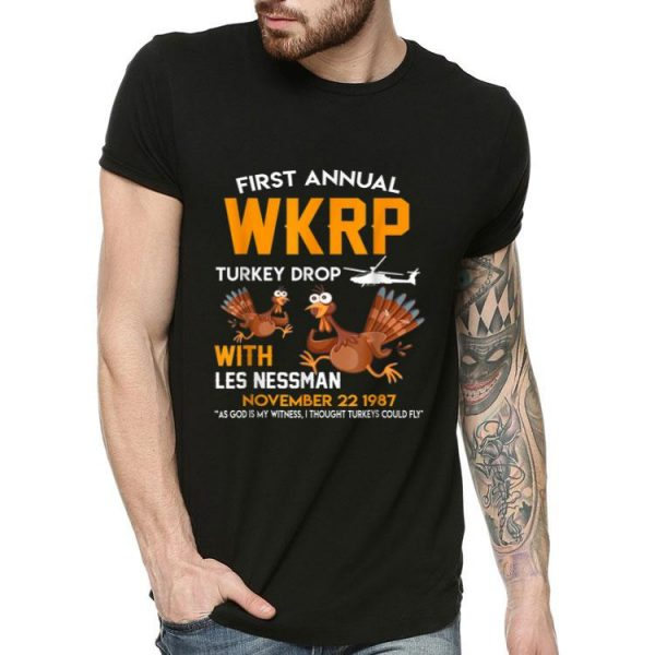 WKRP Turkey Drop Thanksgiving Les Nessman shirt