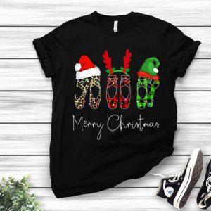 Ballet Shoes Leopard Plaid Pajama Merry Christmas shirt