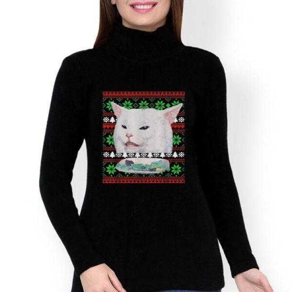 Cat Woman Yelling At Cat Ugly Christmas shirt