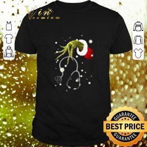 Cheap Grinch hand hold Stethoscope Nurse Christmas shirt