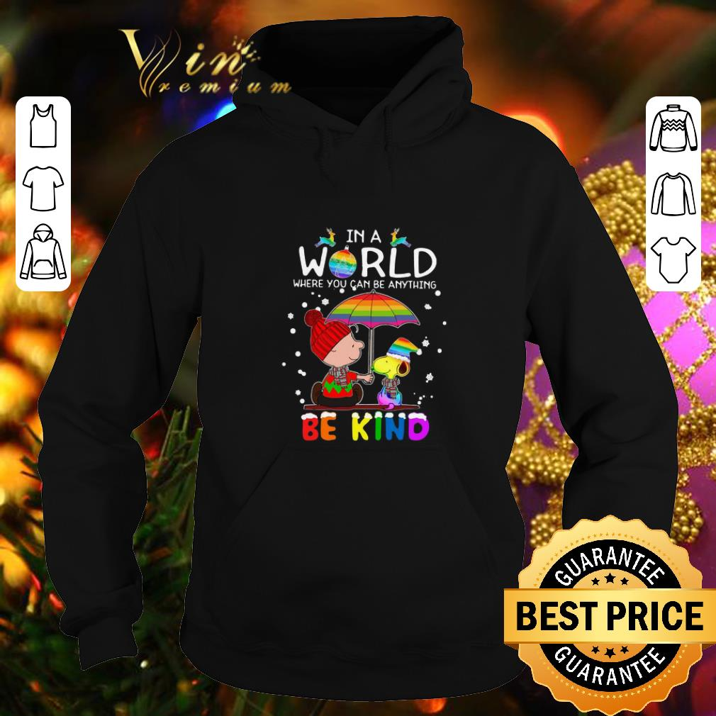 Cheap LGBT In a world where you can be anything Be Kind Snoopy Christmas shirt 4 - Cheap LGBT In a world where you can be anything Be Kind Snoopy Christmas shirt