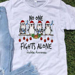 Christmas Penguins No One Fights Alone Diabetes Awareness shirt