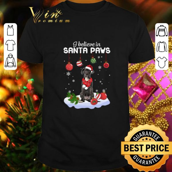 Funny Great Dane i believe in Santa paws Christmas shirt