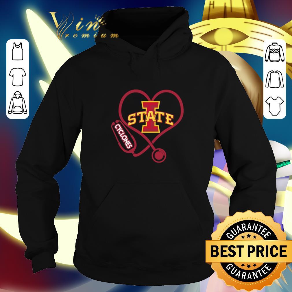 Nice Love Iowa State Cyclones Stethoscope Heartbeat nurse shirt