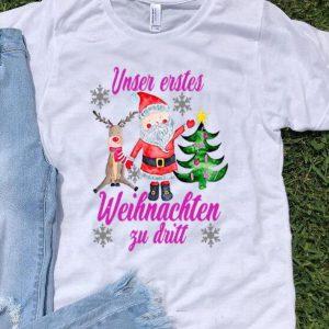 Unser Erstes Weihnachten Zu Dritt Santa Reindeer Christmas shirt