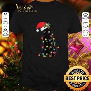 Cheap Black Cat Santa Hat Christmas Lights shirt