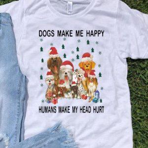 Christmas Santa Dogs Make Me Happy Humans Make My Head Hurt shirt