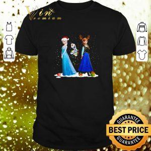 Funny Frozen Elsa Olaf and Anna santa hat reindeer Christmas lights shirt