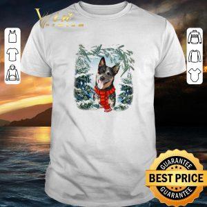 Funny Heeler Australian Cattle in snow forest Christmas shirt