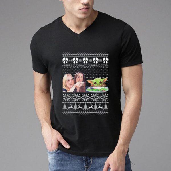 Woman Yelling At A Baby Yoda Ugly Christmas shirt