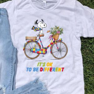 Snoopy Riding Bike It's Ok To Be Different Autism shirt