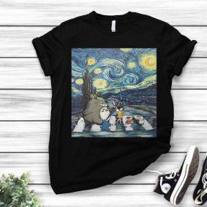 Studio Ghibli Friends And Starry Night Abbey Road shirt