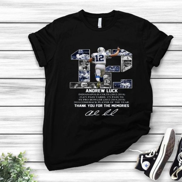 12 Andrew Luck Thank You For The Memories Signatures shirt