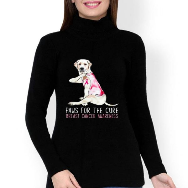 Labrador Paws For The Cure Breast Cancer Awareness Pink Ribbon shirt