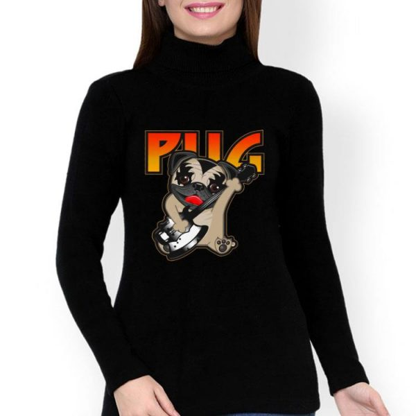 Pug Playing Guitar Kiss Rock Band shirt