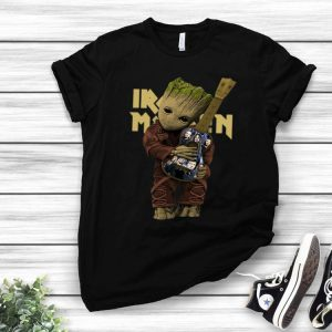 Baby Groot Hug Guitar Iron Maiden shirt