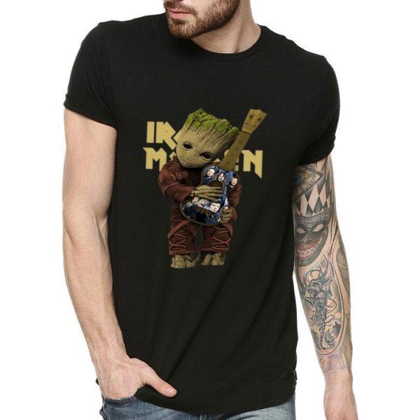 Baby Groot Hug Guitar Iron Maiden shirt