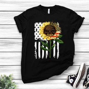 Leopard Skull Sunflower American Flag shirt