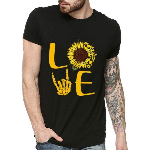Love Sunflower Rock And Roll Jack Skeleton shirt