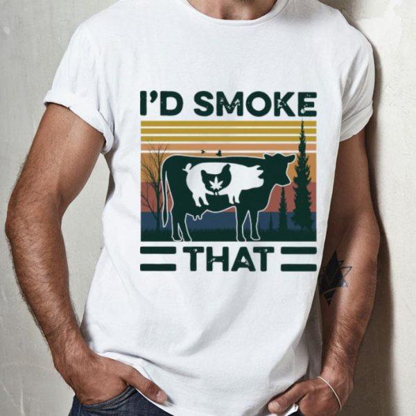 Vintage Chicken Pig And Heifer I'd Smoke That shirt