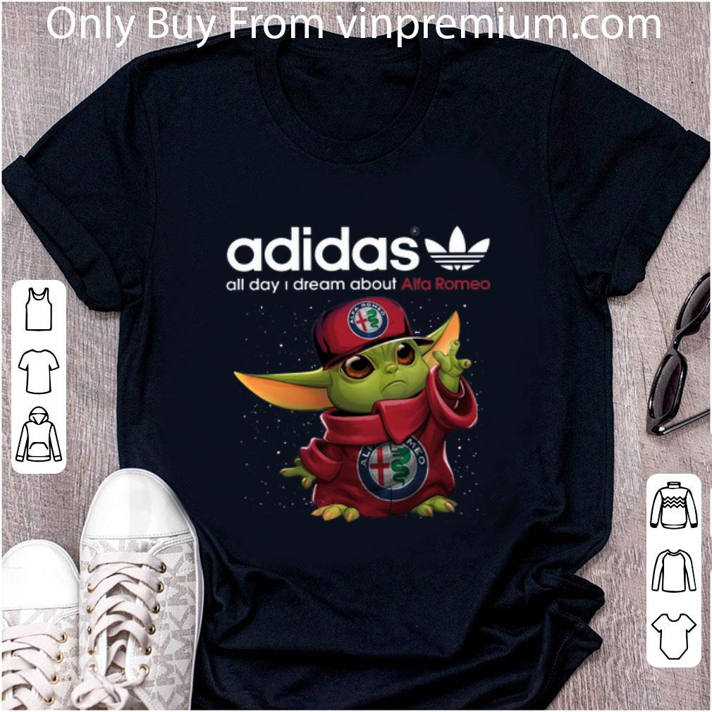 Top Adidas All Day I Dream About Alfa Romeo Baby Yoda shirt