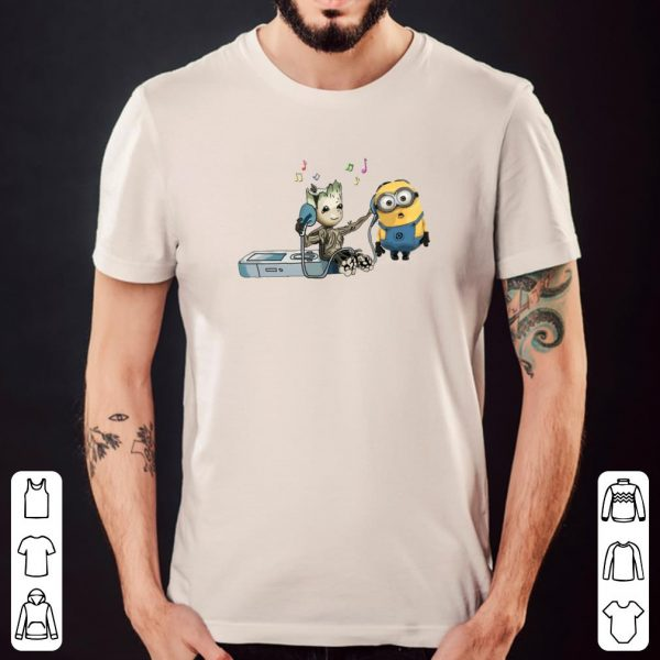 Baby Groot and Minion listening to music shirt