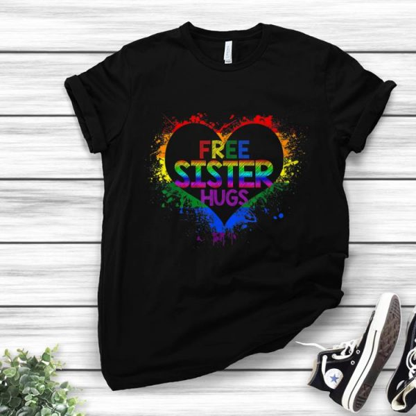 Freeister Hugs LGBT Heart Gay Flag Father Day shirt