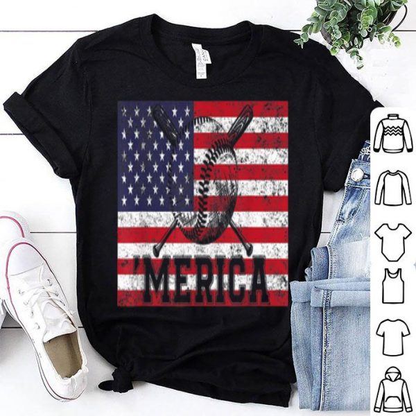 Baseball American Flag Vintage 4th July Gift Shirt