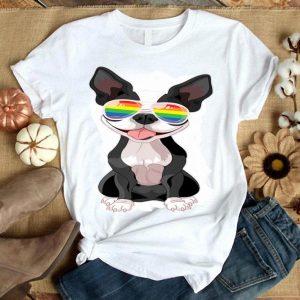Boston Terrier Gay Pride Flag Sunglasses Lgbt - Dog Lovers Premium Shirt