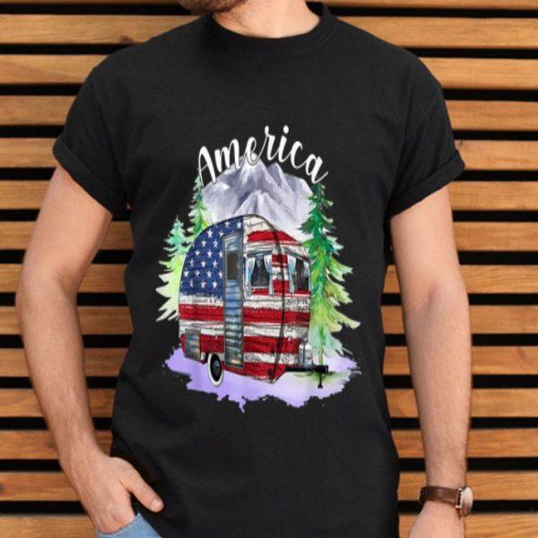 Camping Van USA Flag Camper America 4th Of Julys shirt