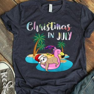 Christmas In July Lazy Sloth On The Flamingo Float shirt