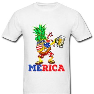 Dabbing Pineapple Us Flag Sunglasses 4th Of July Beer Summer Shirt