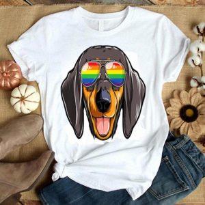 Dachshund Gay Pride Flag Sunglasses LGBT Dog Puppy Shirt