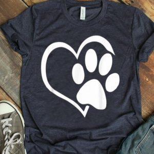 Dog Puppy - I Love Dogs Paw Print Heart Cute Shirt