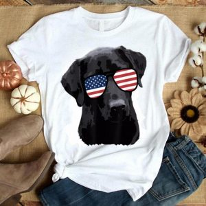 Labrador Retriever American Flag Sunglasses 4th July Shirt