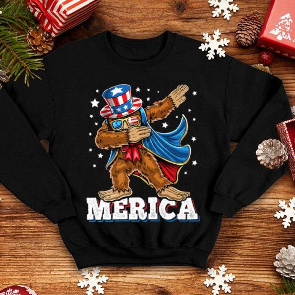 Merica Dabbing Bigfoot Uncle Sam Costume Hat 4th of July shirt