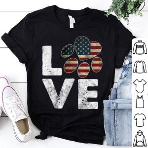 Premium Patriotic American Flag Love Paw Print Dog Owner Tee Shirt