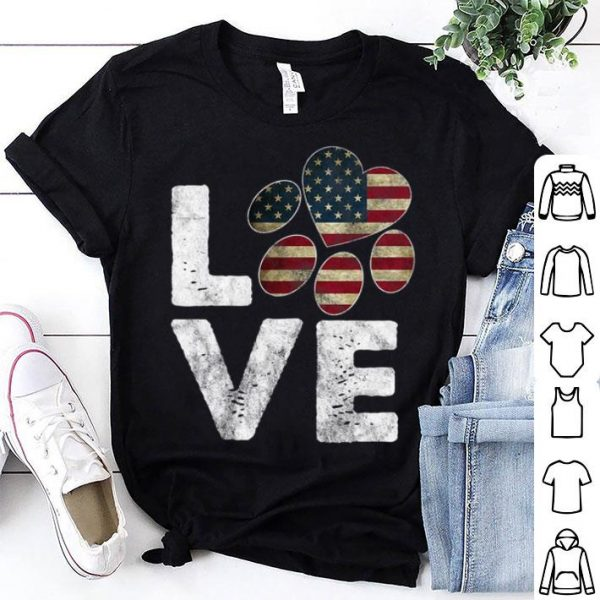 Premium Patriotic American Flag Love Paw Print Dog Owner Tee Shirt
