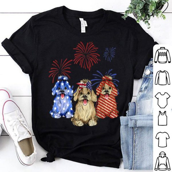 Red White Blue Havanese USA Flag Firework 4th Of July shirt