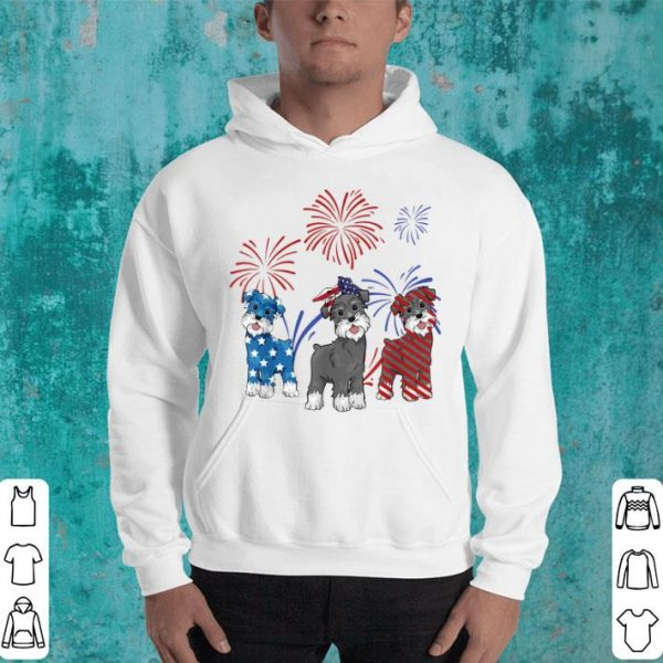 Red White Blue Miniature Schnauzer 4th Of July Gifts Shirt
