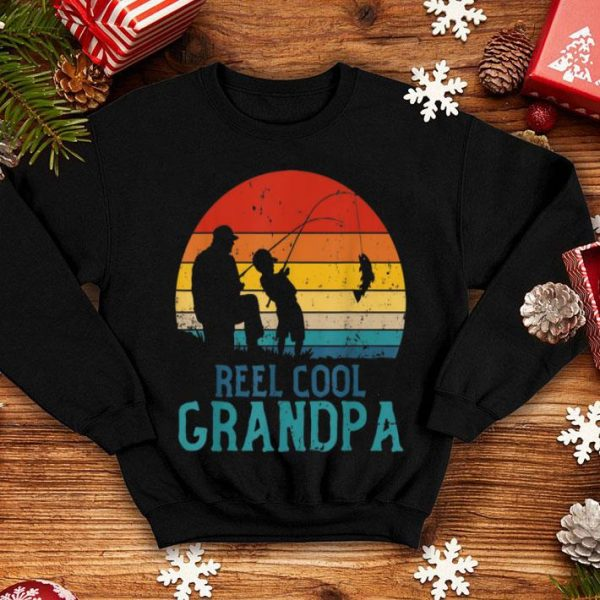 Reel Cool Grandpa Father's Day Dad And Son Vintage Retro Shirt