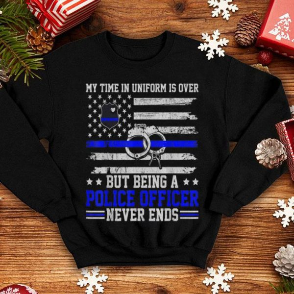 Retired Police Officer Cop Thin Blue Line American Flag shirt