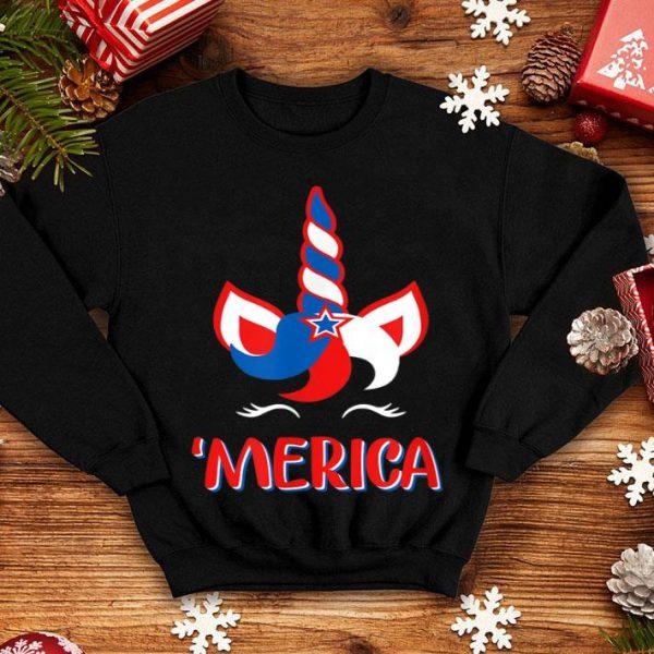 Unicorn MERICA American Flag 4th Of July shirt