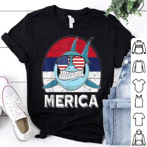 Vintage Merica Shark American Flag 4th Of July shirt
