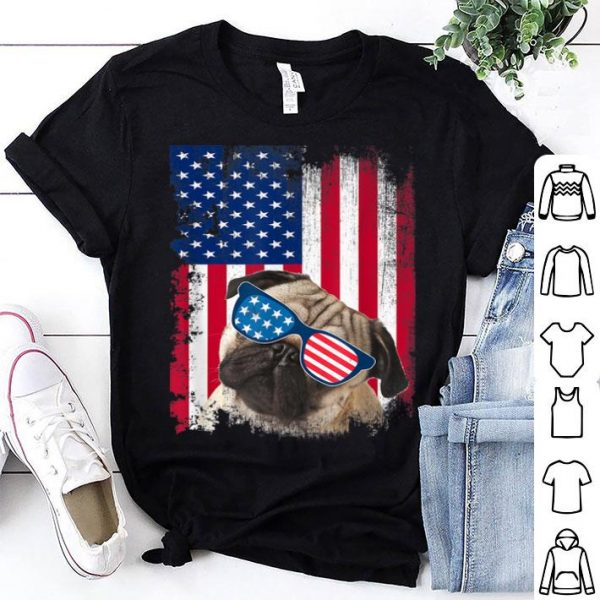 Vintage Pug Dog American Usa Flag Distressed Shirt