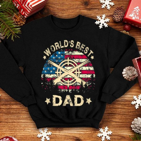 World Best Hunting Dad 4th Of July American Flag shirt