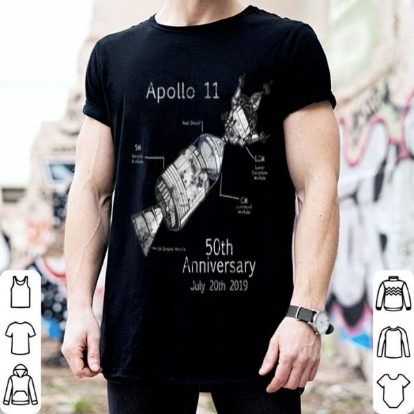 50th Anniversary of Moon Landing Hand Drawn Graphic Design shirt
